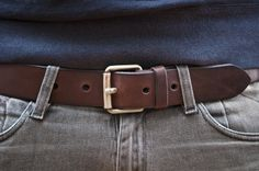 www.877workshop.com — Men's Navy belt brown leather with brass buckle