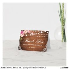 Thank You Note Cards, Custom Thank You Cards, Wedding Thank You Cards, Wedding Invitation Cards, Card Wedding, Rustic Wedding Games, Bridal Shower Rustic, Bridal Showers, Lace Weddings