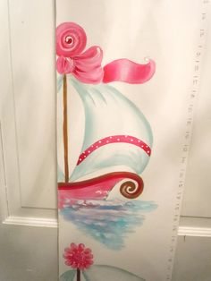 Pink Nautical ships girly Growth Chart Personalized by AdoraArt, $48.00