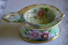 Tea Strainer, Antique, Hand Painted.