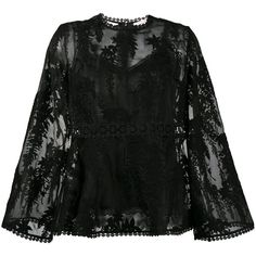 Zimmermann floral embroidered sheer blouse ($630) ❤ liked on Polyvore featuring tops, blouses, black, zimmermann, transparent blouse, zimmermann blouse, see through blouse and transparent top