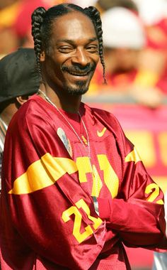 Rapper Snoop Dogg watches the University of Southern California Trojans take on the Washington State Cougars October 2005 at Los Angeles Memorial Coliseum in Los Angeles, California. Get premium, high resolution news photos at Getty Images