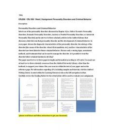 CRJ308   CRJ 308   Week 2 Assignment Personality Disorders and Criminal Behavior --> http://www.scribd.com/doc/148413079/crj308-crj-308-week-2-assignment-personality-disorders-and-criminal-behavior
