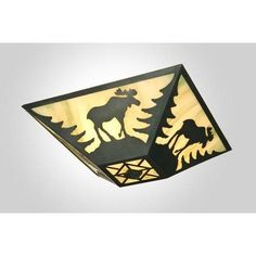Steel Partners Moose Drop Ceiling Mount Finish: Mountain Brown, Shade Color: Amber Mica