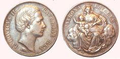Ludwig II of Bavaria,  The coin was commissioned three years after he began his reign of Bavaria. The artwork being done by Carl Friedrich Voigt.