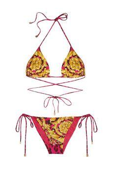 Versace Printed triangle bikini   THE OUTNET