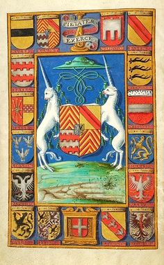 George van Egmont or Joris van Egmont (ca. 1504 - 1559) was bisschop van Utrecht van 1534 tot 1559. -- quarterly 1 and 4, or six chevronels gules; 2, or a bend gules; 3, argent two fess embattled gules; overall charged with escutcheon, per pale, azure lion rampant or, and, or lion rampant sable; surmounted by bishop's hat and tassels, flanked by two upright unicorns. Motto: PIETATEM EXERCE (Exercise piety). (f°2v) -- Egmont breviary, Utrecht (Netherlands), ca. 1440 [Morgan MS M.87]