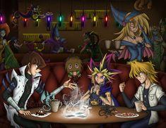 """ The three chosen duelists enjoy their time in a cafe in the mo. Yu Gi Oh, Me Me Me Anime, Anime Love, Otaku, Yugioh Yami, Anime City, Anime Version, Stuff And Thangs, Digimon"