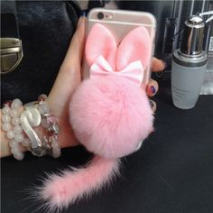 Cute Cat Ears Rabbit Fur Ball Tail Soft Case for iPhone 6 Plus / 6S Plus 5.5 inch