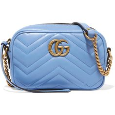 Gucci GG Marmont Camera mini quilted leather shoulder bag (3 340 PLN) ❤ liked on Polyvore featuring bags, handbags, shoulder bags, sky blue, shoulder strap bags, crossbody purses, quilted crossbody, mini crossbody and gucci crossbody