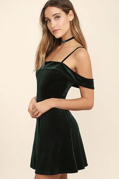 Evenings spent in the My Kind of Romance Dark Green Velvet Off-the-Shoulder Dress are bound to be romantic! Stretch velvet off-the-shoulder dress with a skater skirt. Green Homecoming Dresses, Hoco Dresses, Pretty Dresses, Green Velvet Dress, Velvet Dress Formal, Velvet Dresses, Short Green Dress, Red Evening Gowns, Velvet Fashion