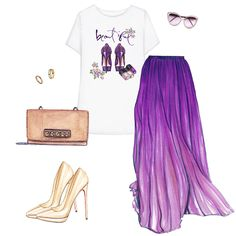 Outfit collage. Graphic t-shirt, long skirt, nude Louboutin pumps, Valentino bag, gold rings