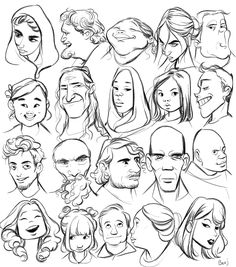 Drawing Face Shapes, Drawing Cartoon Faces, Cartoon Art Styles, Sketch Head, Character Design Tutorial, Sketches Of People, Graffiti Characters, Art Nouveau, Caricature Drawing