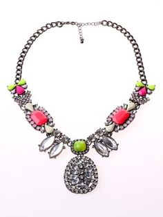 Shop Diamante Stone Short Statement Necklace from choies.com .Free shipping Worldwide.