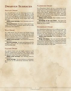 Homebrewing gear DnD Homebrew Big Book of Subraces by Dungeons And Dragons Classes, Dungeons And Dragons Homebrew, Dungeons And Dragons Characters, Dnd Characters, 5e Races, Dnd Dwarf, Dnd Classes, Dungeon Master's Guide, Dnd 5e Homebrew