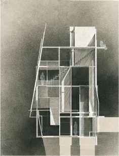 UF D3, Final Door/Window/Stair Section. Ink, colored pencil, and acrylic paint on art paper. 18x24. - John Fechtel