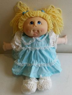 1984 Martha Nelson Thomas Doll Girl Blonde Blue Eyelet Dress Slip Bloomers VGC | eBay