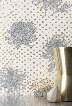 Kanoko- Gold. Clay coated wallpaper hand screen printed in Chicago, IL.