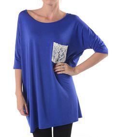 Royal Blue Lace-Pocket Dolman Top
