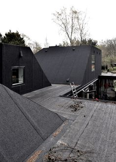 Leth & Gori adds asphalt-covered roof pods to a Danish bungalow