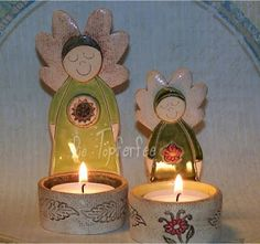 Töpfer Imp: Cerámica Clay Angel, Pottery Angels, Christmas Decorations, Christmas Tree, Paper Mache, Candle Holders, Sculpture, Advent, Handmade