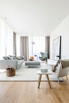 Find your favorite Minimalist living room photos here. Browse through images of inspiring Minimalist living room ideas to create your perfect home. Modern Scandinavian Interior, Interior Design Minimalist, Minimalist Home, Home Interior Design, Scandinavian Curtains, Scandinavian Interior Living Room, Modern Minimalist Living Room, Modern Design, Living Room Interior