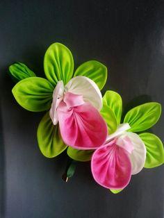 Green Pink Silk Orchid Flower Brooch Pin- WINTER SALE MizuSGarden