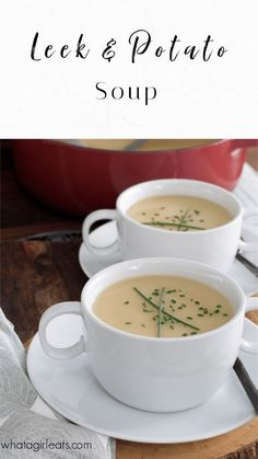 Classic leek and potato soup is a budget-friendly recipe for a quick and easy dinner or lunch. Plus, this healthy soup recipe is one of the most versatile soups ever! Add cheese and bacon for baked potato soup. Swap out the chicken broth for vegetable stock for a vegetarian soup. Whether you serve it as a side dish or main dish, this easy soup recipe is sure to warm you up on a chilly evening. | What A Girl Eats Best Soup Recipes, Best Gluten Free Recipes, Healthy Soup Recipes, Easy Dinner Recipes, Real Food Recipes, Easy Meals, Chili Recipes, Vegetarian Soup, Vegetarian Recipes