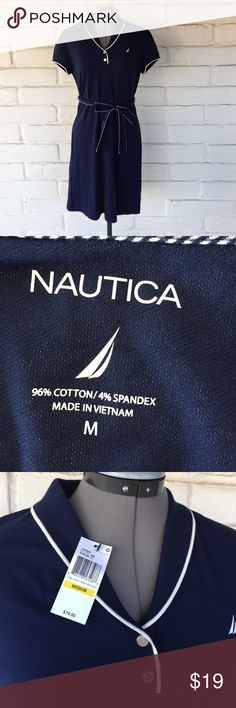 NEW Nautica Sailor Nautical Navy Dress Collared Brand new with tags. Classic sailor-style dress by Nautica. Navy blue with white trim. Ribbon waist tie. Fits true to size. Nautica Dresses Midi