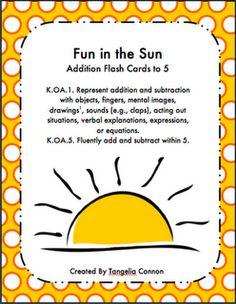 Fun in the Sun Addition Flashcards