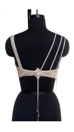 Chikan Worked Beige Saree Blouse Rear| Strandofsilk.com - Indian Designers
