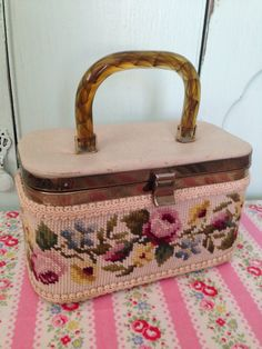 Petit Point Needlepoint floral Handbag by VictorianAntiques