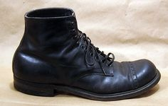 1920s RARE Thom McAn Men's Shoes Work Boots Black Leather Depression 8 8 5 9 | eBay