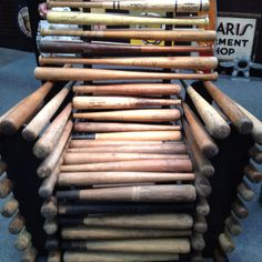 Chair made from baseball bats.  Seen at the Pier Antiques Show in  NYC - Wyant Antiques tel. 269-214-6354