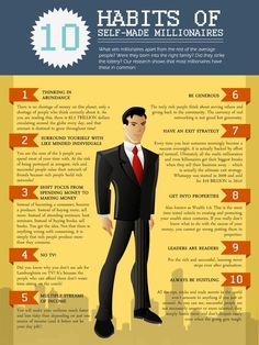 10 Habits of Self-Made Millionaires Infographic Passive Investing, Investing Tips, You'll get nice profit and worth from my entrepreneurial merchandise, assured! Self Development, Personal Development, Leadership, Self Made Millionaire, Become A Millionaire, Self Improvement, Self Help, Business Tips, Business Entrepreneur