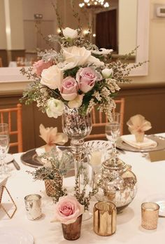 vintage style flowers, mercury glass, elegant wedding centerpiece