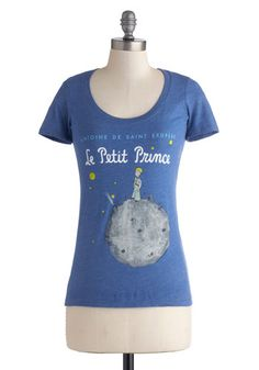 Novel Tee in Prince by Out of Print - Jersey, Knit, Mid-length, Blue, Grey, Novelty Print, Casual, Short Sleeves, Scoop, Scholastic/Collegiate, Variation