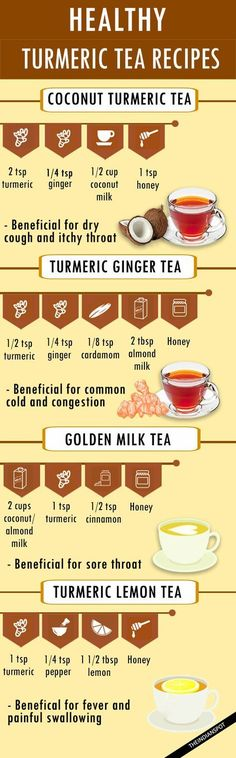 HEALTHY TURMERIC TEA RECIPES . . . Pam's note - I would add some black pepper to each recipe. . .need that to deliver the turmeric benefits from what I've read. #readtea