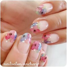 Flower tips, watercolours Simple Nail Art Designs, Beautiful Nail Designs, Cute Nail Designs, Beautiful Nail Art, Cute Nails, Pretty Nails, Japanese Nail Art, Nail Polish Art, Fabulous Nails