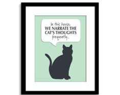 Cat Sign Funny Wall Art By Clicjanes