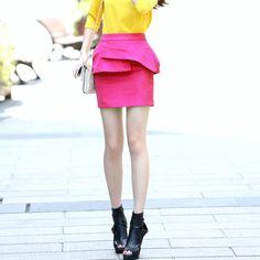 Justyle - High Rise Peplum Trim Skirt $105.00 http://www.shop.secretenvy.com/Justyle-High-Rise-Peplum-Trim-Skirt-20151154.htm