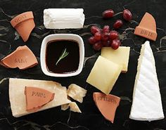 Using pots as wine and cheese labels