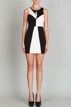 Black & White Colorblock Mini Dress #keyhole #partydress #minidress
