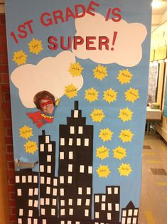 "Decorate your classroom door to set the mood for your superhero theme! My inspiration for this classroom door design came from Pink Cat Studio! I think her Hero graphics are the most adorable on the market! www.pinkcatstudio.com  This pack is a great addition to your ""Back to School Superhero"" theme this fall or a compliment for ""Zero the Hero"" and ""100th Day"" activities later in the year. $"