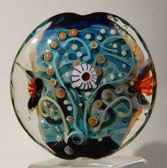 Sea World  Lentil Focal bead  lampwork bead   glass by Beadfairy, $39.90