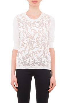 Chloe' woman ivory cotton blend animal embroidery sweater - LuxuryProductsOnline
