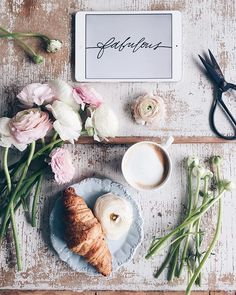 flowers, snacks, coffee