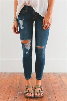 New Fashion Summer Women Girls Hole ripped jeans Casual Jeggings Cool Denim High Waist pants Female skinny jeans