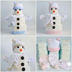 Tartas de pañales para Navidad. Este divertido muñeco de nieve de pañales con cositas de abrigo para el recién nacido puede ser un bonito regalo para el bebe esta Navidad. ¿Te apetece ver más tartas de pañales y canastillas? ¡Haz clic en la foto o en https://mibbtarta.es/ y descubre nuestra tienda online! #muñecodenieve #tartadepañales #tartasdepañales #tartaspañales #regaloreciennacido #regaloparabebe #canastilla #navidad