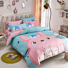 Include:four-piece suit(1 bed sheet,1 bedding bag,2 pillowcase) 1.2m(4 feet)the bed is a three-piece(1 bed sheet,1 bedding bag,1 pillowcase ) Material: cotton Style: totoro. Applicable bed size:1.2m (